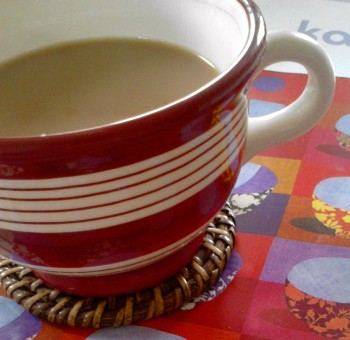 Red and cream striped coffee mug