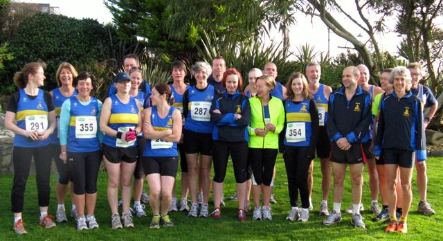 Falmouth Mob Match 27/11/11, 5 mile road race. Truro Running Club team photo.