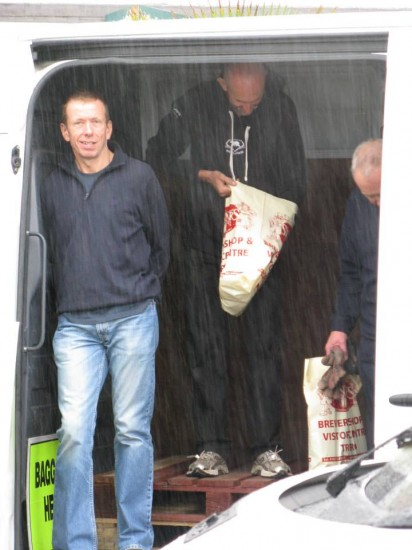 Gary in the baggage van in the pouring rain