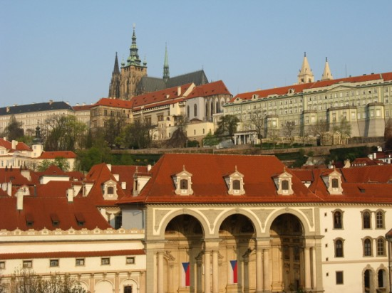 Spectacular view of Prague from Hana's hotel room window