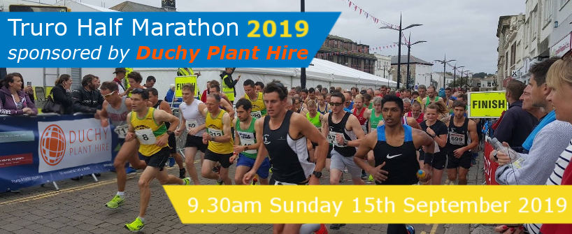 Truro Half Marathon 2019 sponsored by Duchy Plant Hire